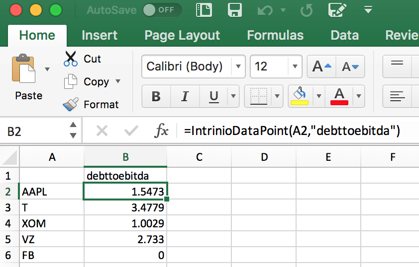 debt to EBITDA formula