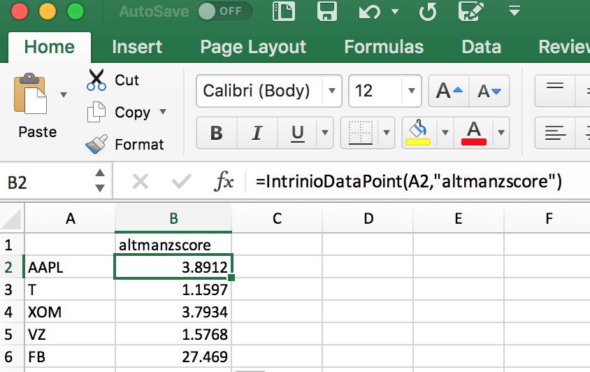Altman Z Score in Excel
