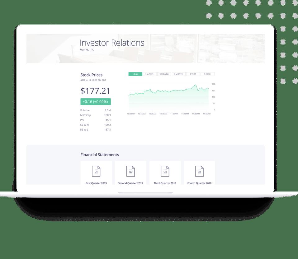 Investor relations widget