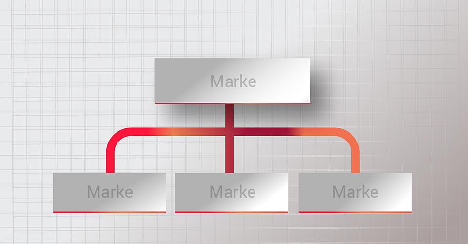 Grafik Hierarchie der Markenarchitektur