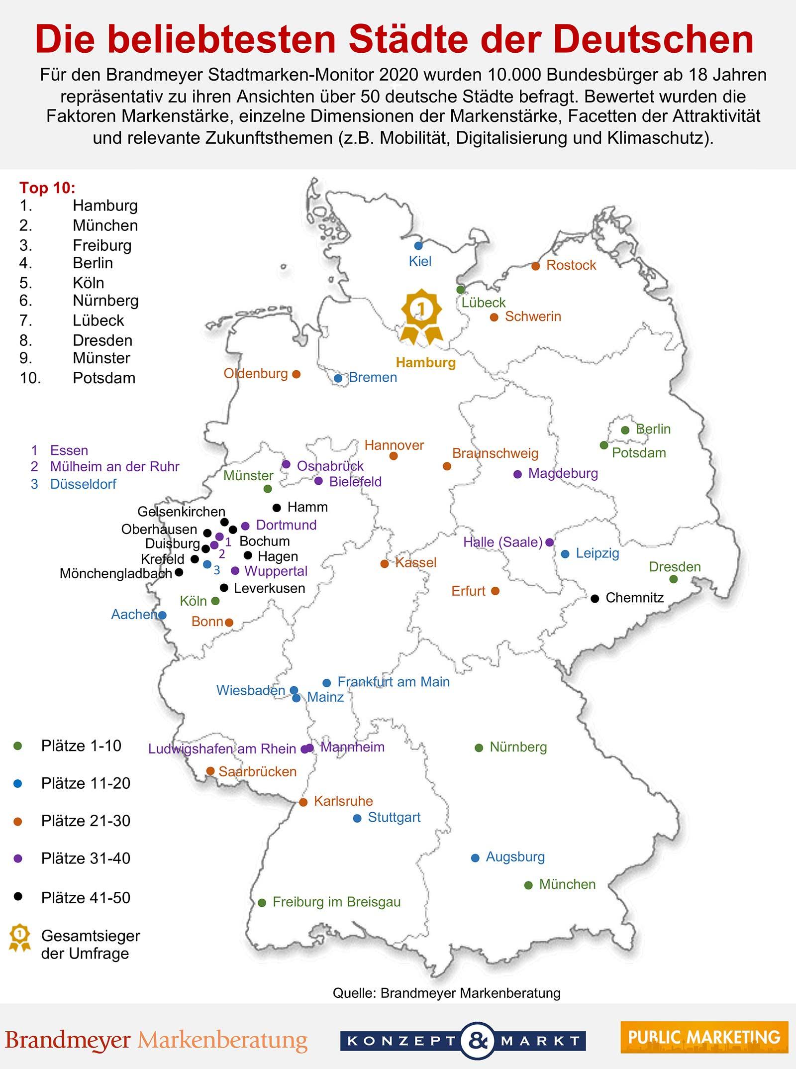 Landkarte Deutschland die beliebtesten Städte