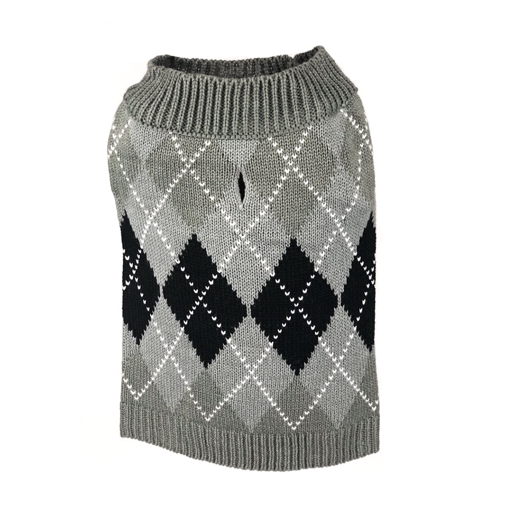 Grey Argyle Sweater