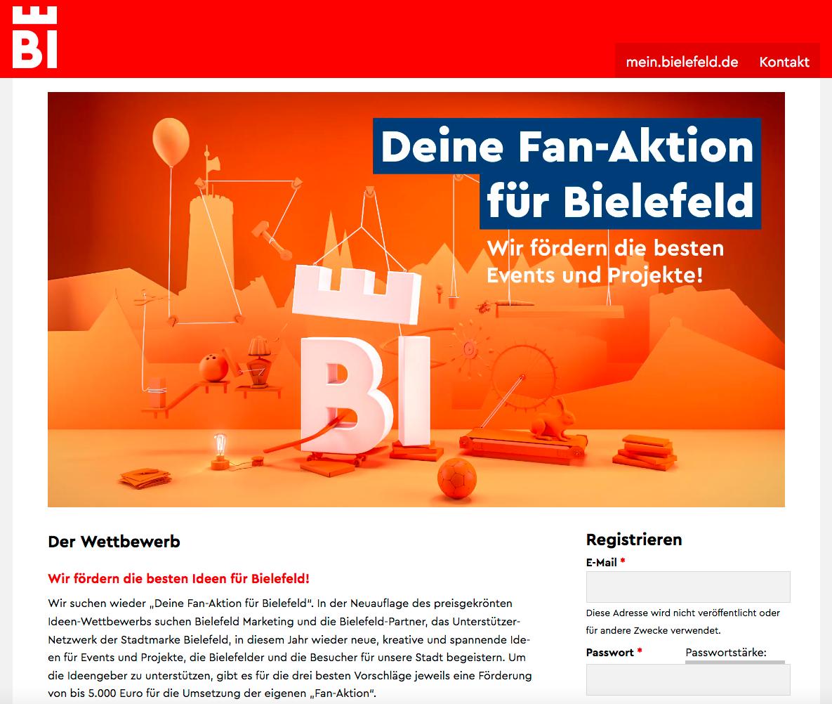 Ein Screenshot von der Website der Bielefeld Marketing GmbH, der die Werbeseite für die Fan-Aktion zeigt.