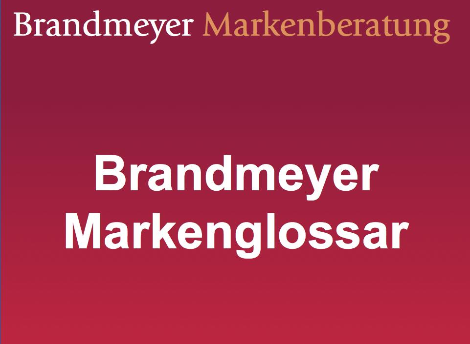 """Weiße Schrift auf rotem Grund: """"Brandmeyer Markenglossar"""""""
