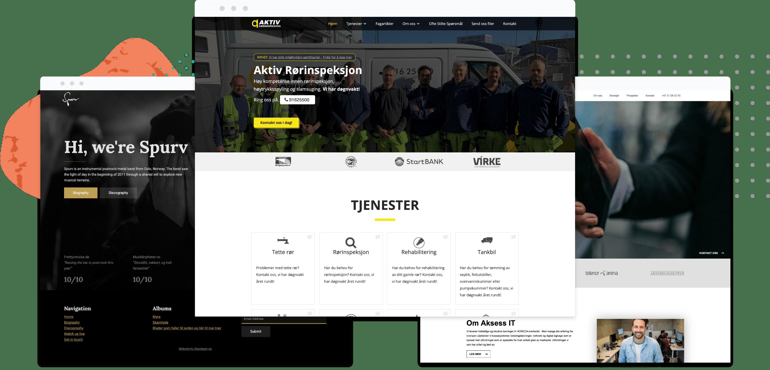 hjemmesider vi har laget for bedrifter