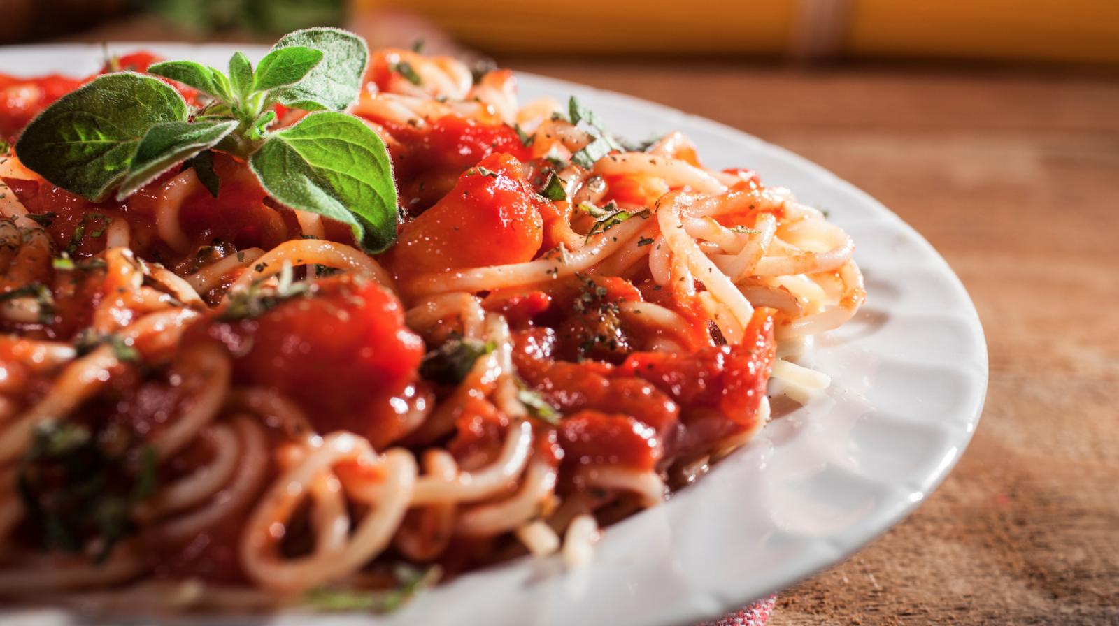 Closeup of a pasta dish