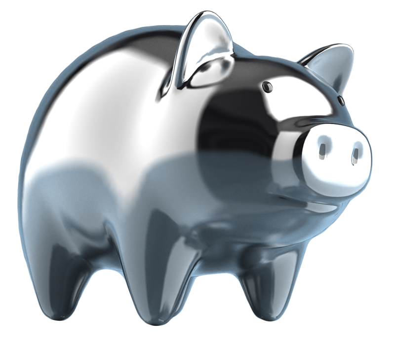 Reflective Silver Piggy Bank