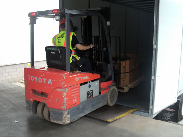 Forklift loading in truck