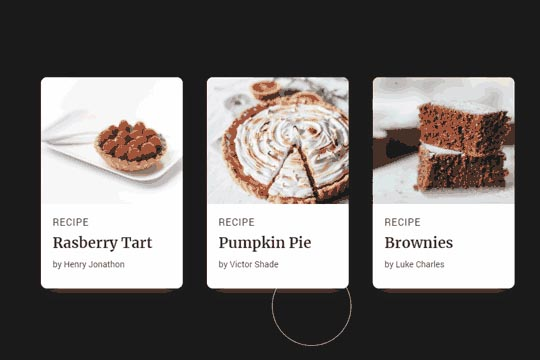 Recipe Card Animation on Hover
