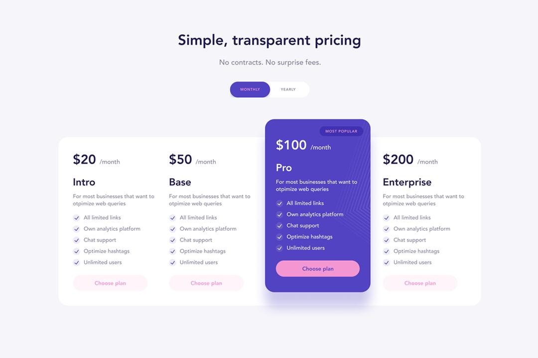 Webflow Pricing Column
