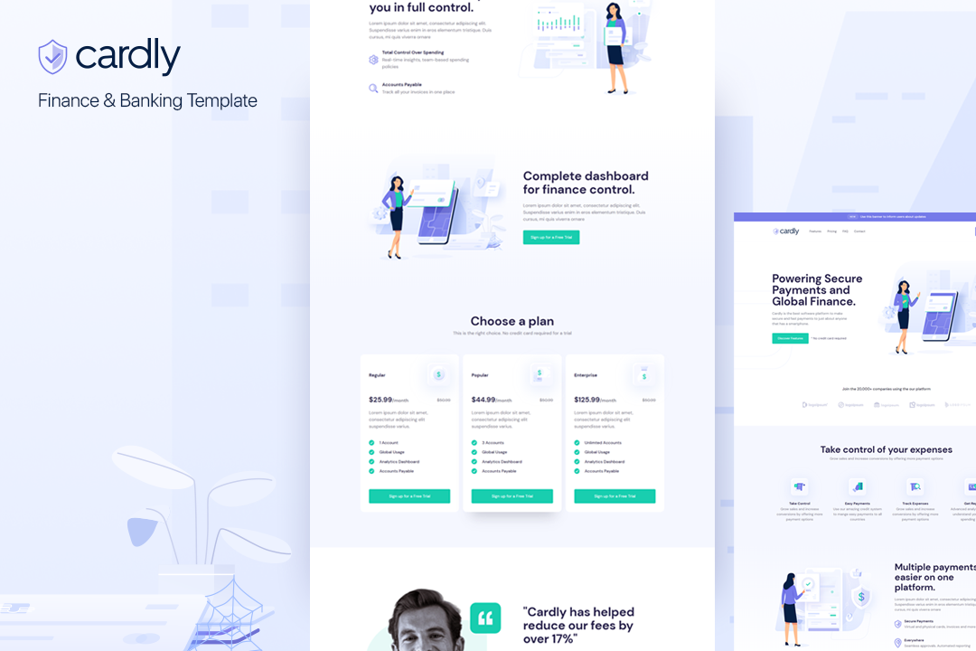 Cardly: Finance & Saas Template