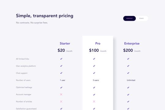 Pricing Comparison Clone