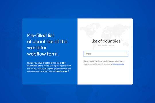 Liste déroulante des pays
