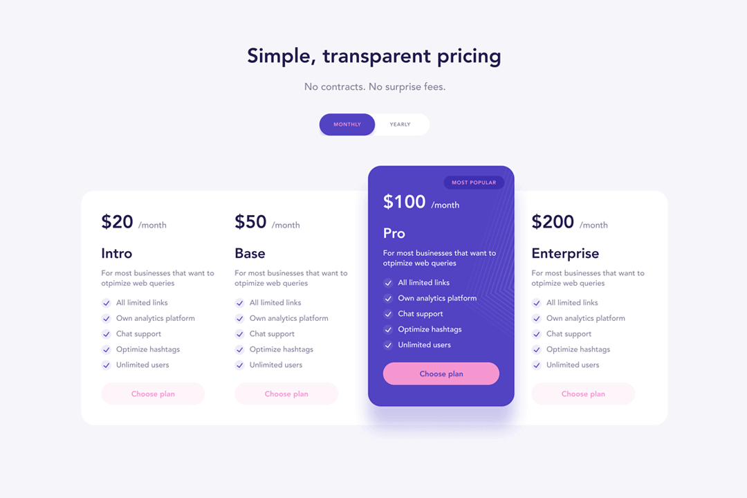 Webflow Pricing Column