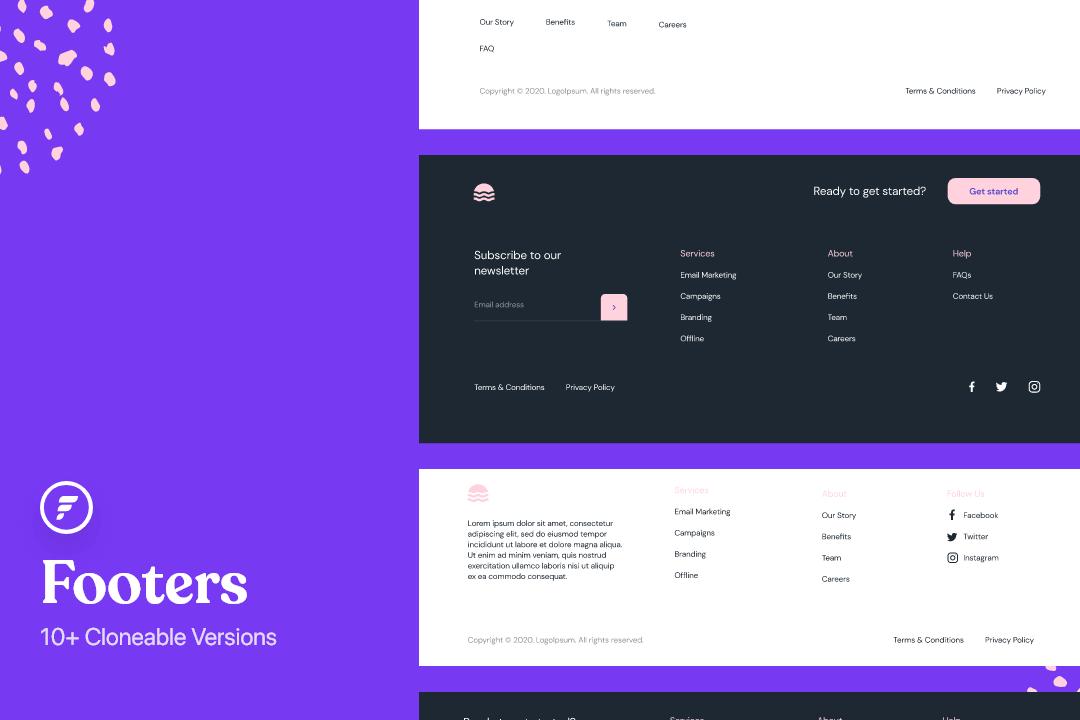 Pieds de page du Webflow (10+ Versions)