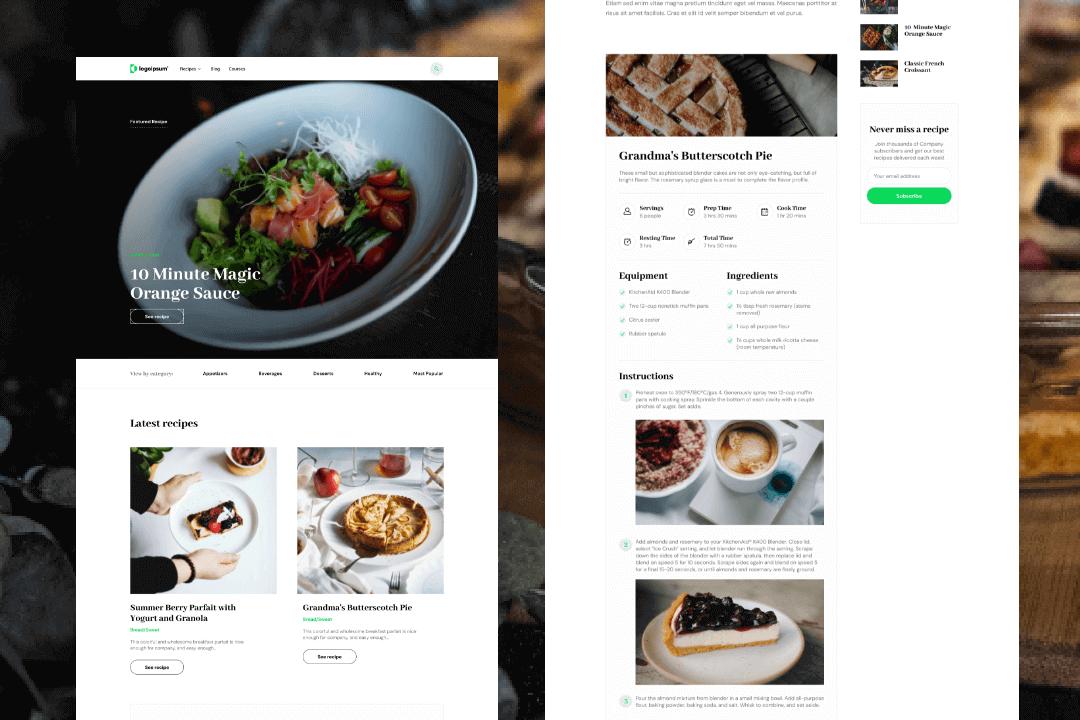 Plantilla de recetas de Webflow