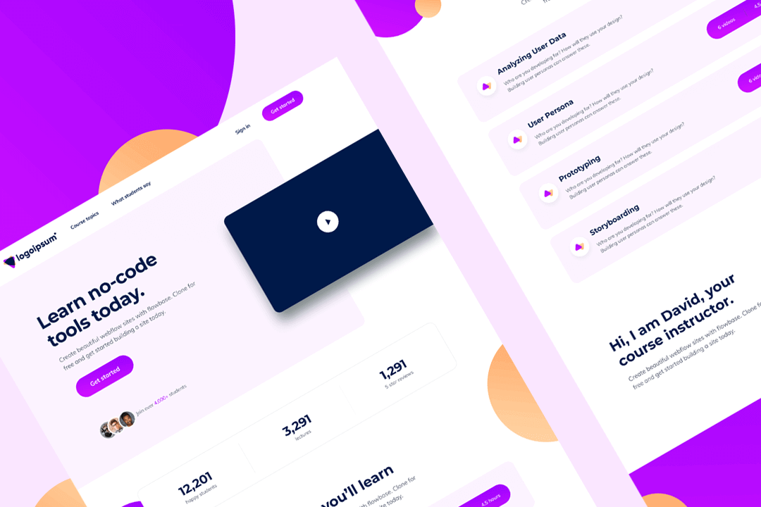 Course Landing Template (Webflow)