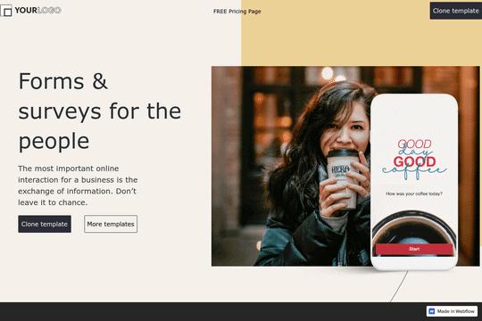 Typeform Website + Pricing Page