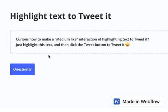 Highlight to Tweet