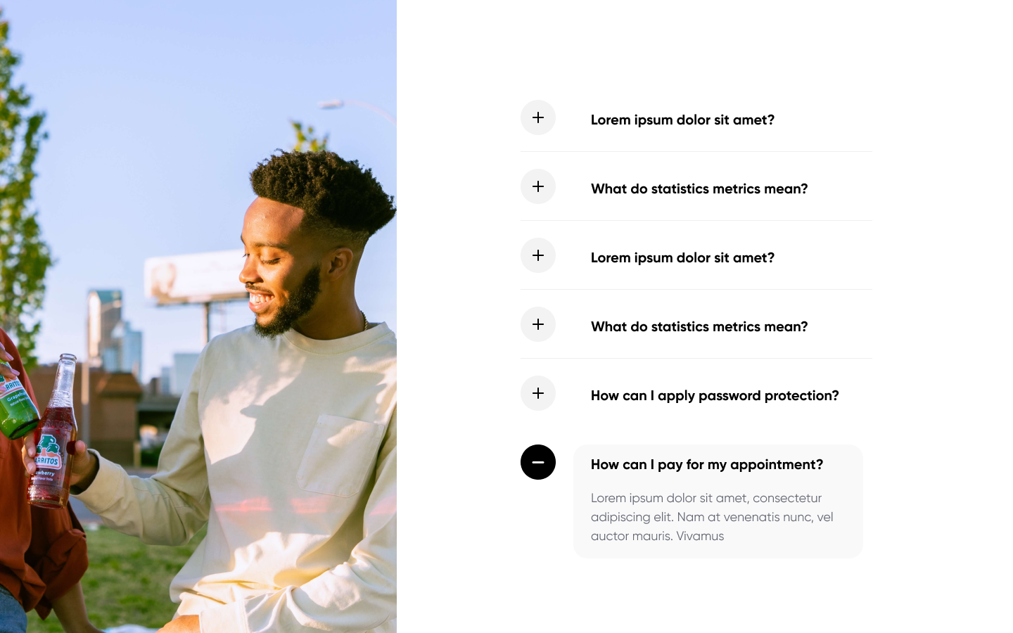 FAQ (Frequently Asked Questions) component section. Easily added into your webflow projects