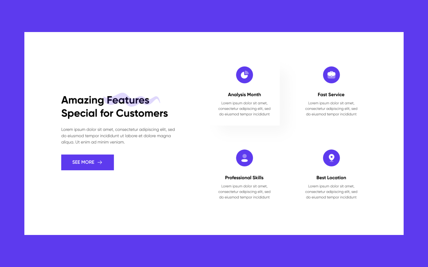 Content section built to feature specific aspects of your products & services. Add your own features to this component block!