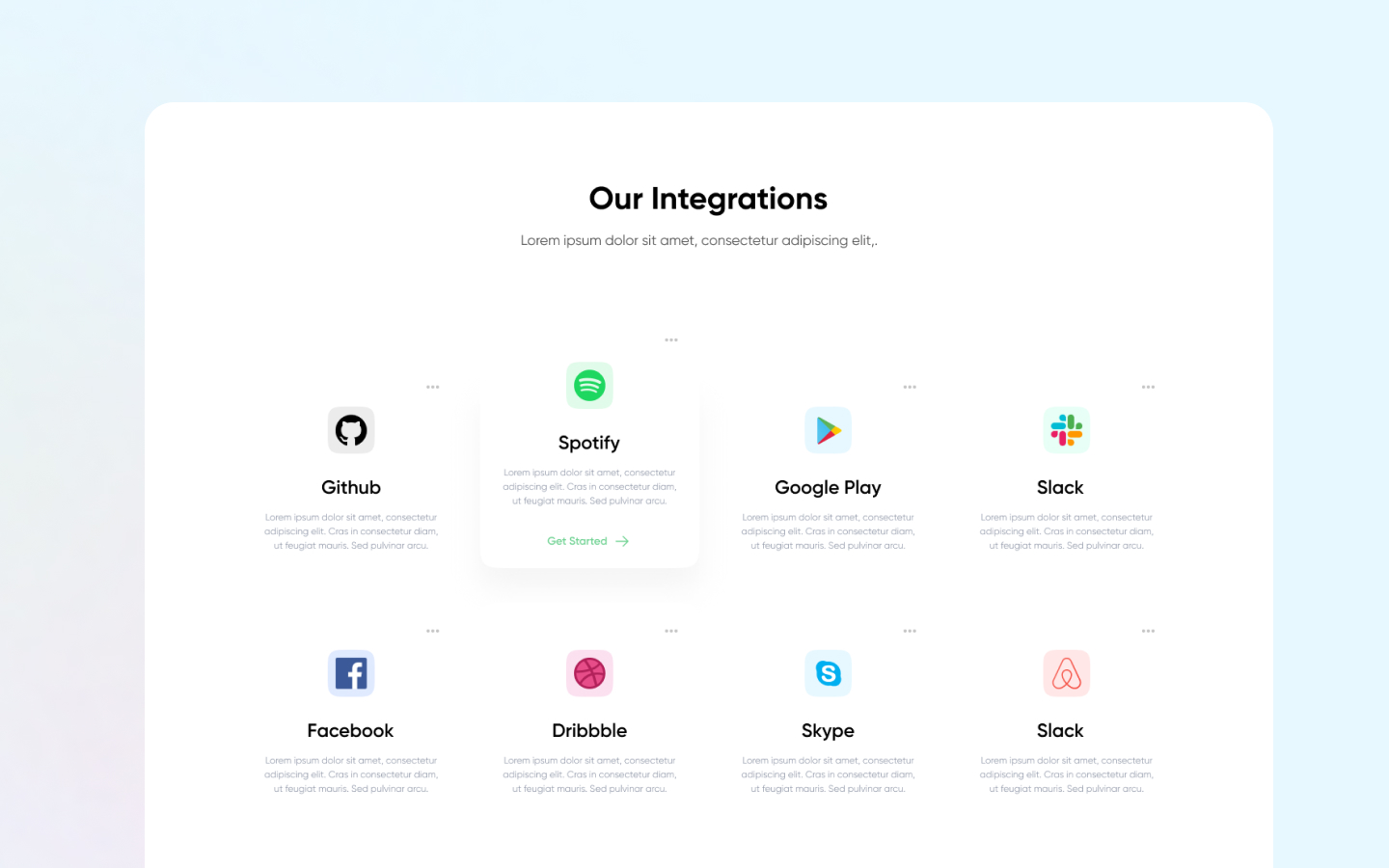 Integration section to display brand logos and your popular integrations
