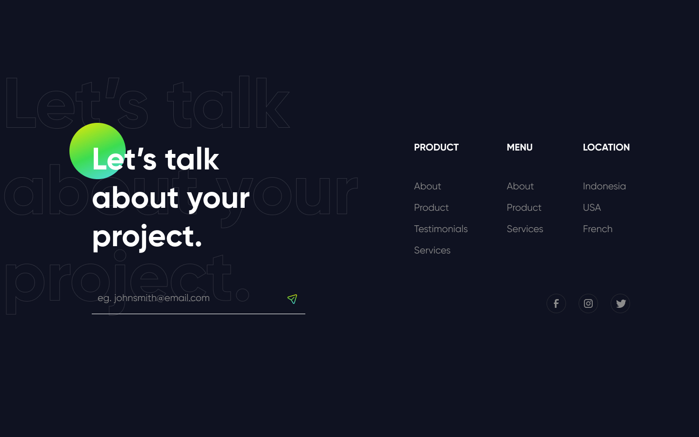Dark styled footer component with support for newsletter capture, page links, and social media links.