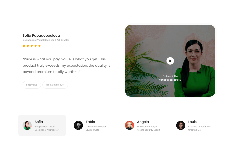 Moderne vitnesbyrdsseksjon som kan brukes til å legge til troverdighet og tillit ved å vise kundenes følelser om nettstedet/produktet ditt.