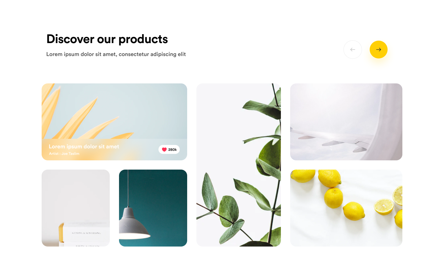 Grid-based gallery section, perfect for your own product gallery, portfolio section etc.