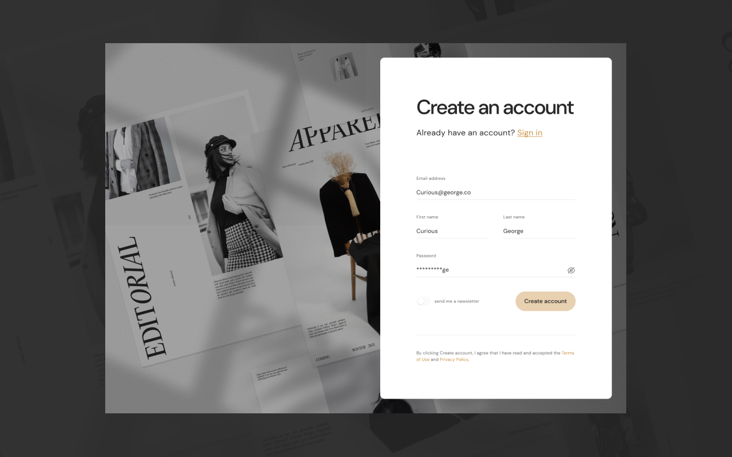 Popup / modal element that can be used to improve the UX for a users password reset. Connect this with your own membership platforms.