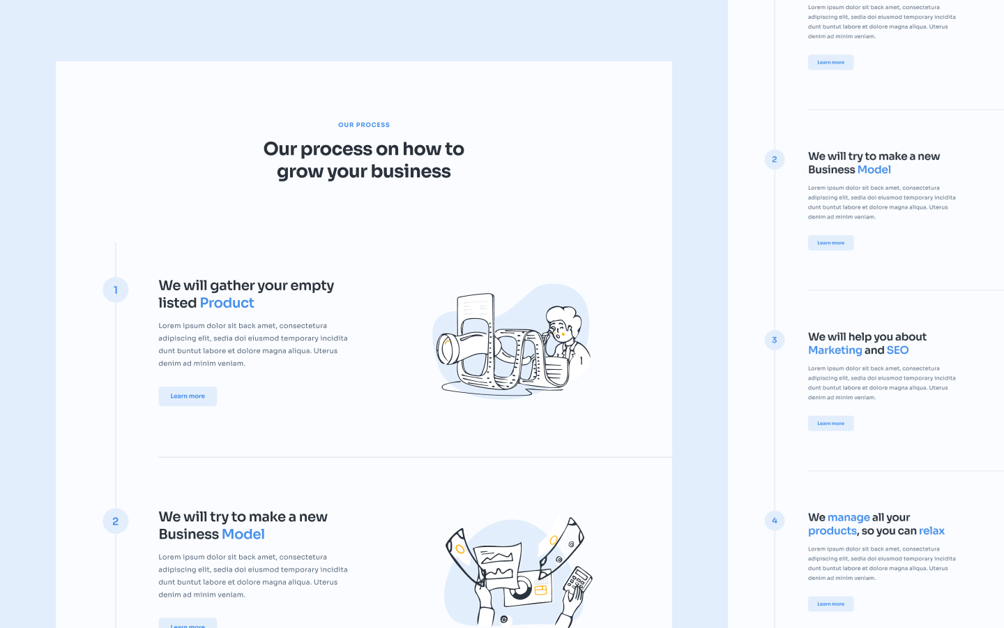 Content section built to simply demonstrate the process flow aspect of your product/service.