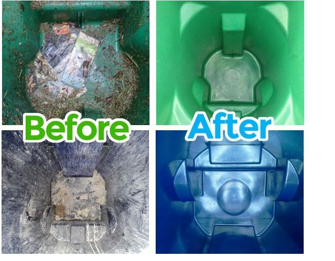 Before and after trash can cleaning