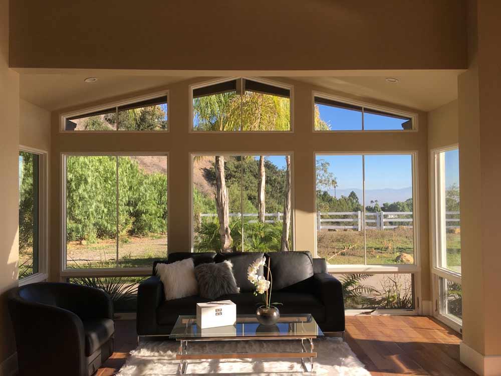 Living room large windows in Palos Verdes