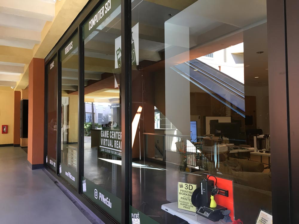 Clean windows on storefront