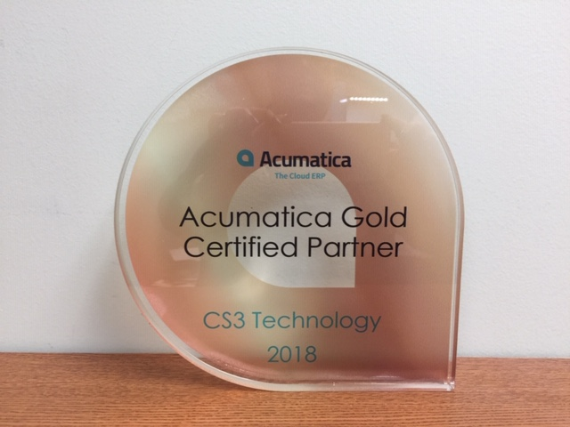 CS3 Technology's Acumatica Gold Certified Partner Award