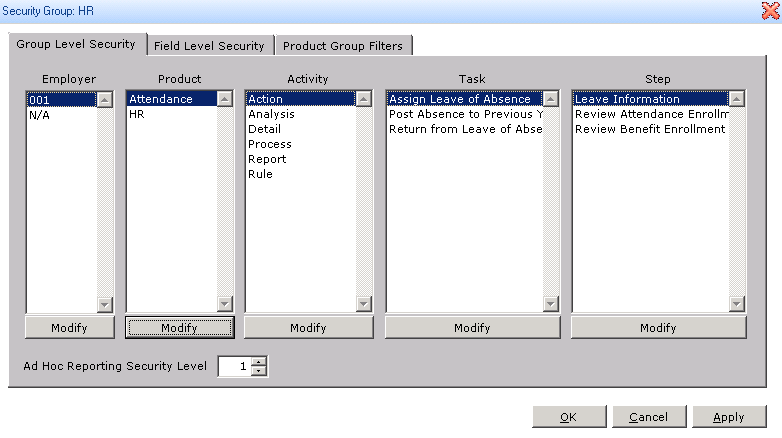 Group Level Security Permissions in Sage HRMS