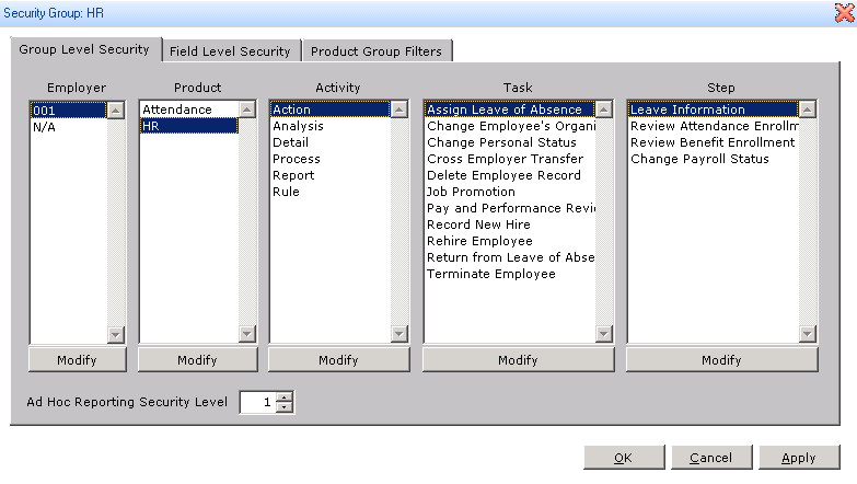 Changing Product Security Permissions in Sage HRMS