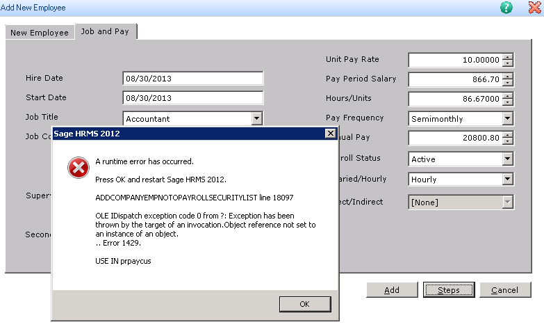 New Hire Add Error in Sage HRMS 2012