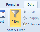 filter button in excel