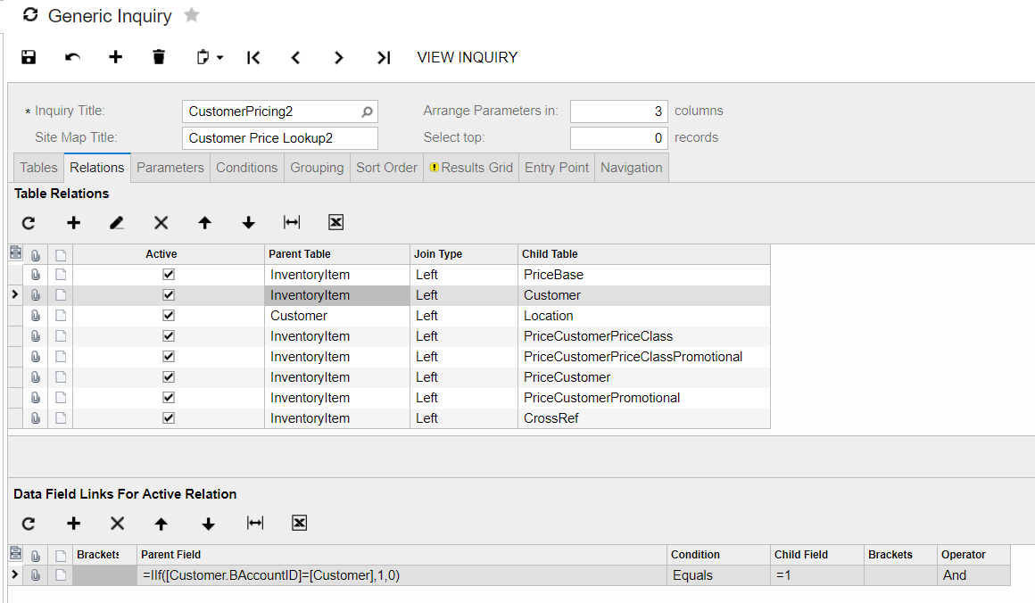 Customer pricing and inventory lookup in Acumatica's Generic Inquiry
