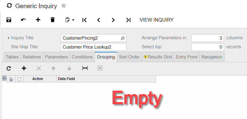 customer grouping in generic inquiry