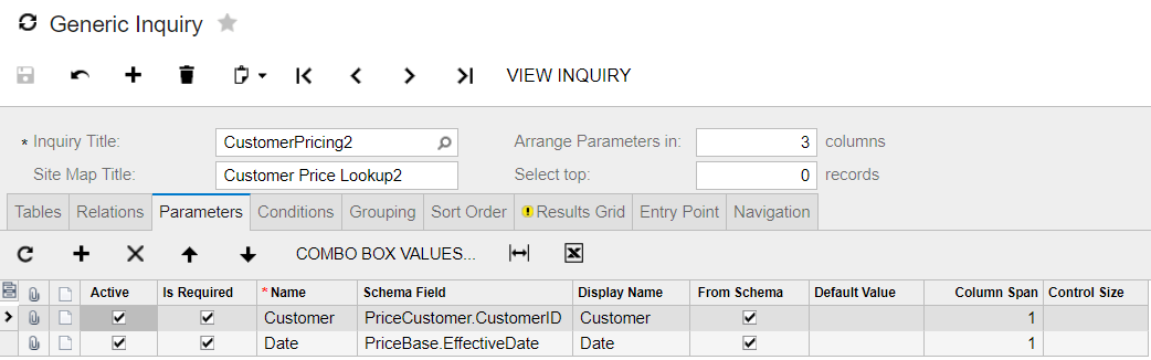 acumatica generic inquiry lookup parameters