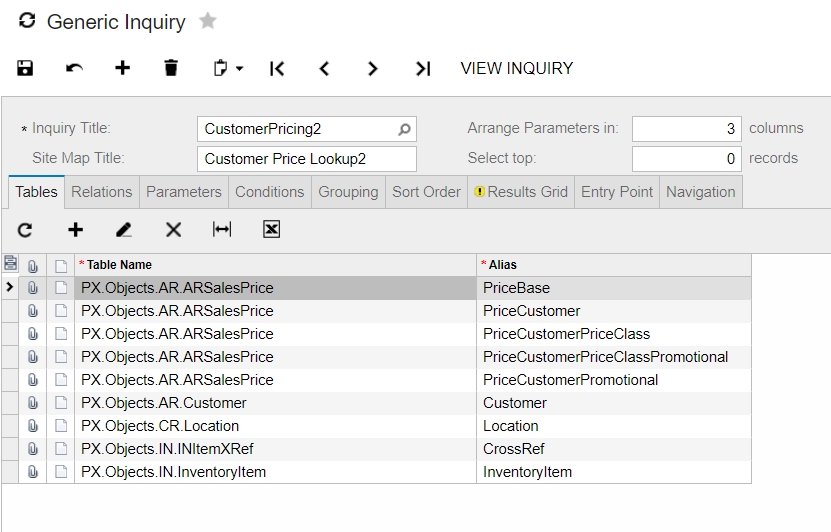 Acumatica Generic Inquiry customer pricing lookup