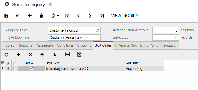 sort order in generic inquiry