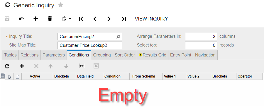 customer lookup conditions in acumatica's generic inquiry