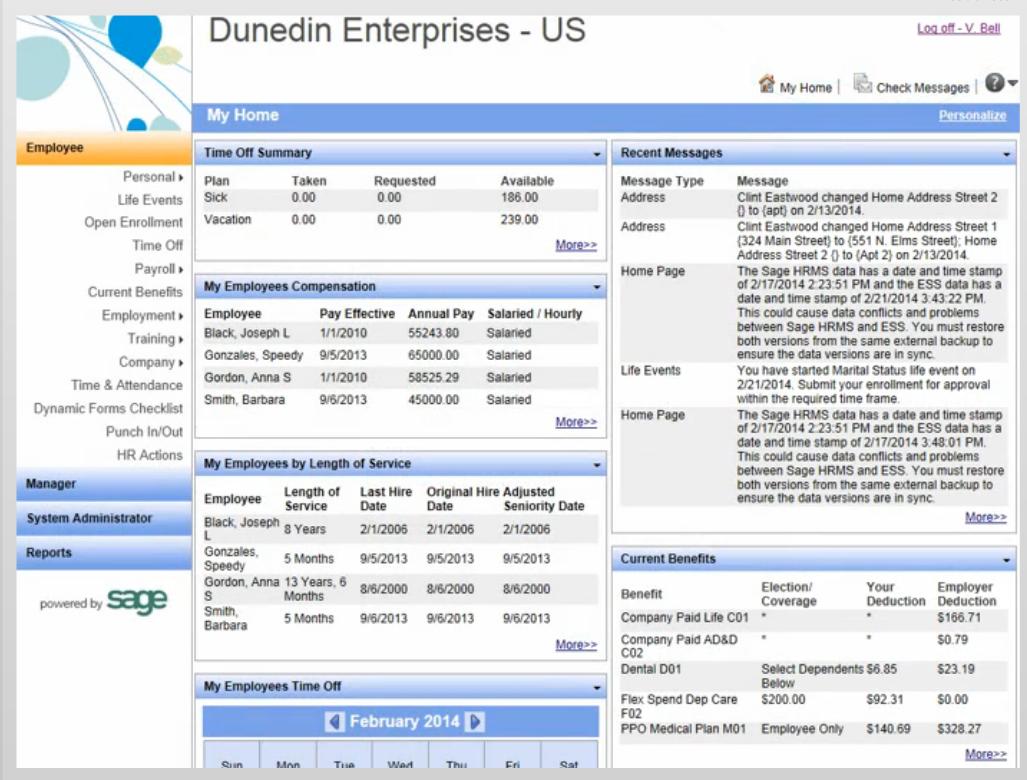 Example Employee Self Service Homescreen