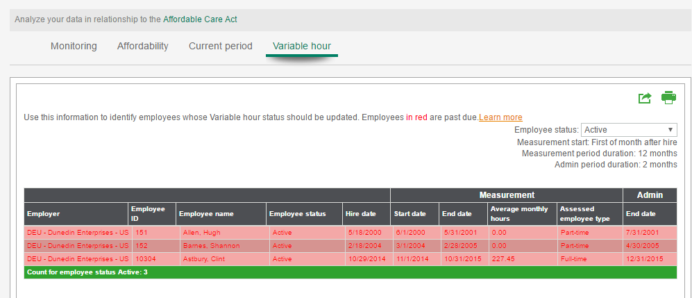 Variable hour report in My Workforce Analyzer