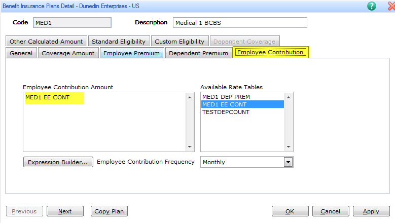 Benefit Insurance Plans Detail dialog box screenshot showing employee contribution