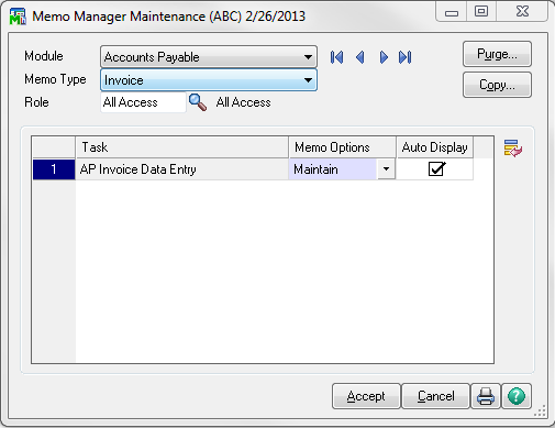 Memo Manager Maintenance Dialog Box Screenshot