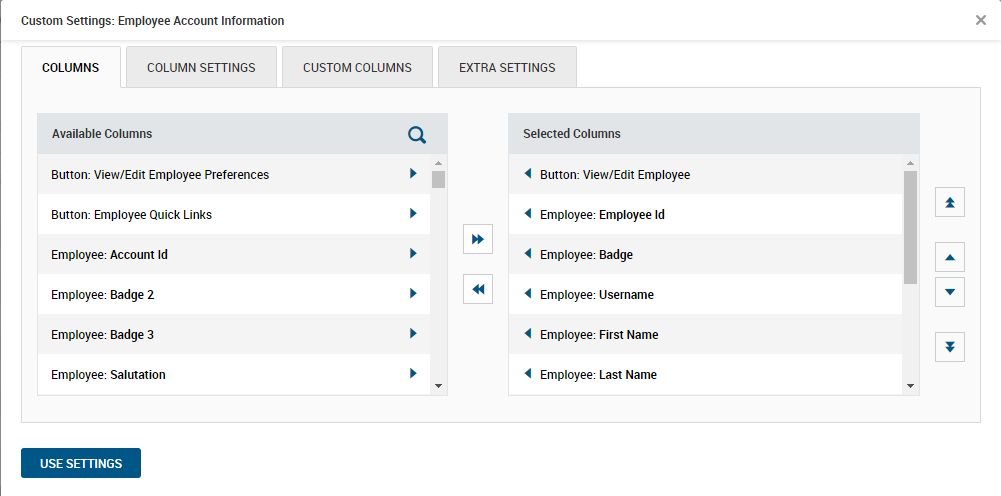 Custom Employee Account Information Settings in Kronos